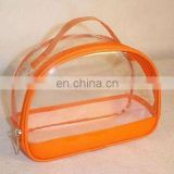 promotional pvc cosmetic packing zipper handle bag