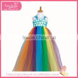 Floor length dress multi color fluffy dress with rosette decorated gauze dress halloween costume                                                                                                         Supplier's Choice