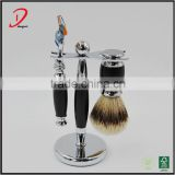 3 piece shaving set black , wet shaving brush set ,badger hair shaving brush men shaving gifts set