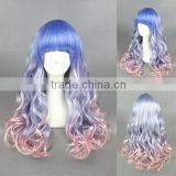 Beautiful Japanese 65cm medium Long Wave blue pink cosplay Synthetic Lolita women wig