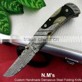 "udk f218"" custom handmade Damascus folding knife / pocket knife with Damascus steel bolster and Buffalo horn&Camel bone handle"