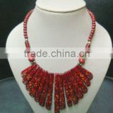 Tribal Bone Red color beads necklace