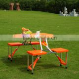 Outdoor folding ABS plastic picnic table with 4 seats color orange                                                                         Quality Choice
