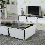 MDF black&white piano baking finished toughened glass dining room set