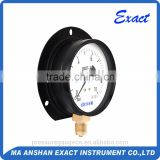 black steel calibrated pressure gauge with back flange