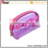 High Quality plastic waterproof clear glitter material cosmetic bag personalized