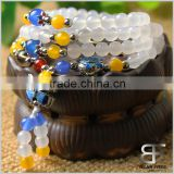 Multilayer 108 Natural White Agate Crystal Tibetan Buddhist Buddha Amulets Yoga Wrist Meditation Prayer Beads Wrap Bracelet