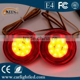 Round led tail lights Parking warning Car For Qashqai rear bumper reflector Styling Stop Brake DC 12V LED bulb Lamp