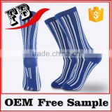 Customized newest design striped blue sexy teen girl colorful long socks