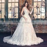 (MY0922) MARRY YOU 2015 China Custom Made Bridal Gowns Sexy V-neck Backless Vintage Long Sleeve Wedding Dresses