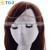 T&J Girls beautiful rhinestone crystal hair chains gold plated metal bridal hair accessories