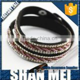 Diamante Rhinestone Wristband Cuff Leather Bracelet