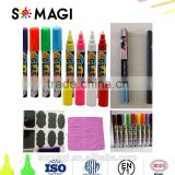 OEM package 8-18 colors chalk markers Dust Free, Water-Based, Non-Toxic Wet Erase Chalk Ink Pens