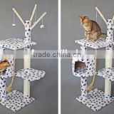 Paw Print Bungalow Cat Furniture Condo House Scratcher Multi Level Cat Activity Tree