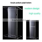 Modern style clear organic glass church pulpit for sale