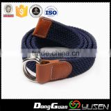 Hot Selling Men's Casual Braided Leather inlay Solid Woven Elastic Stretch Belt