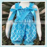 New Design Blue Satin Baby Bubble Knickers for Girls Baby jumpsuit Quatrefoil Jumpsuit Girl Polyester Jumpsuit With Bow
