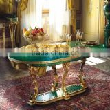 A Palatial Gilt Bronze Mounted Malachite Dining Table, Gorgeous Oval Bronze Dining Table with Natural Malachite Top and Base