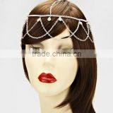 Cross Wave Tassel Head Piece Rhinestone Crystal Hair Band Head Chain Jewelry