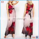 OEM service new cheap wrap front flower print western party wear african pregnant women dresses