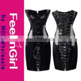 Wholesale PVC Long Line Overbust Leather Corset Plus Size