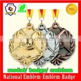 Design your own custom Metal Crafts production zinc alloy blank gold award metal sport medal with ribbon (HH-medal-033)