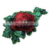 Fashion Red Rose Green Flower Sequined Patch Sew on Clothes