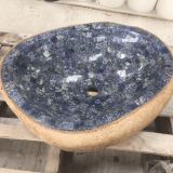 River Stone Bath SInk Fantasy Blue Marble Mosaic Wash Basin