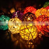 Solar Powered Handcraft 20LEDS Rattan Ball light Plug-in Decoration Light Holiday Lighting