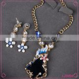 Korean jewelry set rhombus crystal long joker sweater chain necklace set beautiful necklace set