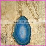 NE2140 Fashion Agate Geode Slice pendant necklacce,Fashion Chunky Necklace 2013