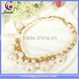 Beautiful white pearl design necklace alloy latest design saudi gold jewelry necklace BLN005
