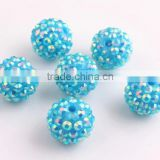 Turquoise AB Color Resin Rhinestone Ball Beads for Chunky Necklace Jewelry, Custom Design Accept Wholesales Cheap 10mm to 40mm