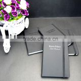 A6 rubber surface black pu leather blank page journals for hotel gift
