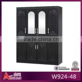 W924-48 cheap bedroom wood hanging closet organizer, black 4 door wardrobe, made in China