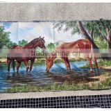 Chinese high quality embroidered canvas oil painting, gobelin fabric