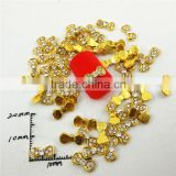 2016 hot golden rhinestone bow tie 3d nail art decoration nail charms