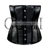 Overbust Steel Boned Corset in Black Satin And PVC Ci-1157