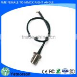 Rf Electrical Wire Connector FME Plug to MMCX Male Right Angle Assembly Extension Coaxial Cable