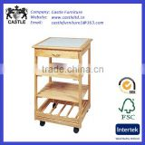 Original finished pine wood kitchen trolley/cart/island with mid shelves