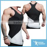premium elastane cotton gym singlet slim fit V taper gym stringer mens