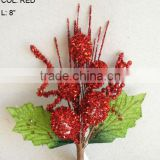 "New Artificial Christmas Red Flower Pick 8"" Artificial Fruit Ball Flower With Berries"