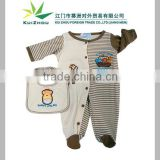 100% Cotton Embroideried Baby Romper set with bib Baby Clothes Set