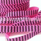 5/8 inch wholesale neon pink & black chevron print fold over elastic trim
