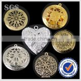 wholesale Round Brass Hollow Copper Charms Photo floating Locket Fashion Pendants Classic Jewelry Finddings