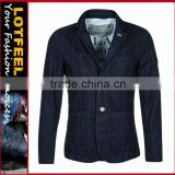 Mens boys denim suit navy blue jacket coat outwear trench fitted trench coat (LOTJ253)