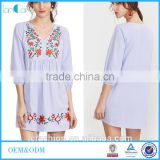 2017 Summer Women Clothing Factory Embroidered Blue Striped V Neck Button Front Lantern Sleeve Boho Dress
