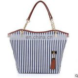 Striped Casual Tote Women Canvas Handbag Casual Single Shoulder Shopping Bags Beach Zipper Large Bag