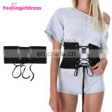 Fashion Women Lace Up Elastic Belt Black Wide Waist Lady Belt