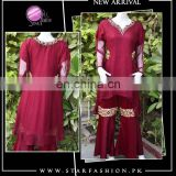 Pakistani/Indian Maroon eternity tailed frock with ghararah pants, stylish designs for lady.